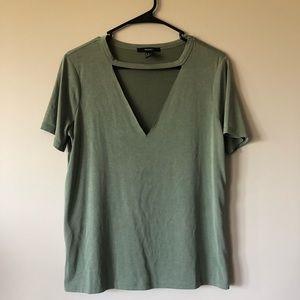 Green deep V v-neck t-shirt